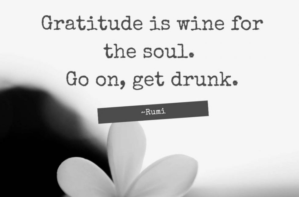 Gratitude is wine for the soul. Go On Get Drunk ~ Rumi